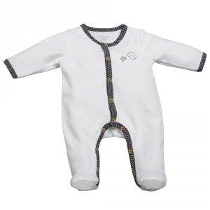 Pyjama bébé velours babyfan blanc/gris