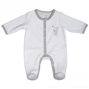 Pyjama bébé velours céleste blanc broderie ours