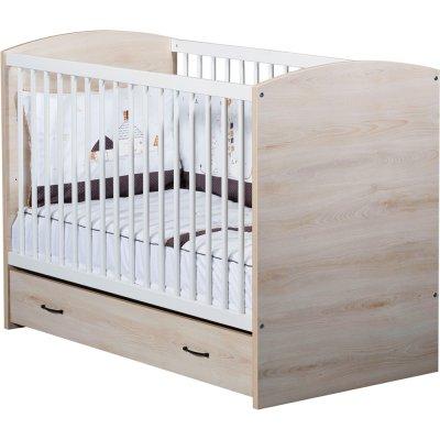 Tiroir pour lit bébé 120x60cm vintage hêtre cendré Sauthon meubles
