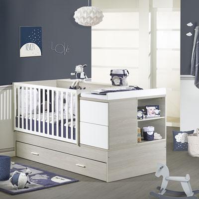 Tiroir pour lit chambre transformable 70x140cm opale frêne sablé Sauthon meubles
