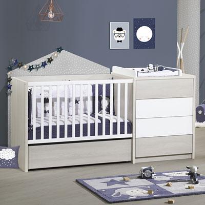 Tiroir pour lit chambre transformable 60x120cm opale frêne sablé Sauthon meubles