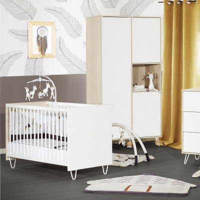 Lit bébé 60x120cm non transformable happy Sauthon meubles