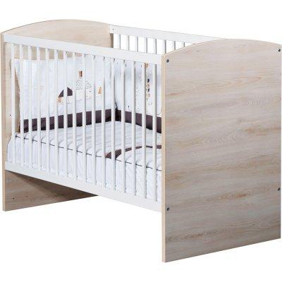 Lit bébé 120x60cm vintage hêtre cendré Sauthon meubles