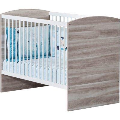 Lit bébé120x60cm vintage chêne silex Sauthon meubles