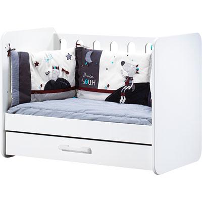 Lit bébé 120x60 transformable en banquette astride blanc Sauthon meubles