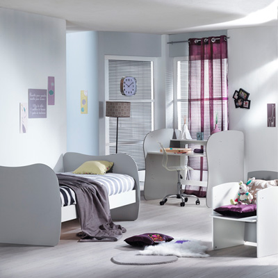 Lit chambre transformable 120x60 pop argile Sauthon meubles