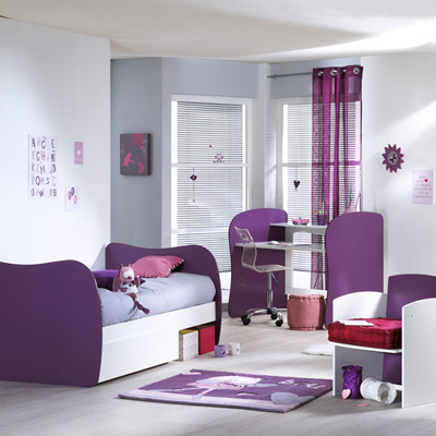 Lit chambre transformable 120x60 pop violette Sauthon meubles