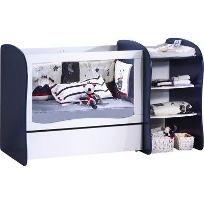 Lit chambre transformable 120x60 pop indigo Sauthon meubles