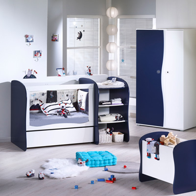 Lit chambre transformable 120x60 pop indigo Sauthon meubles