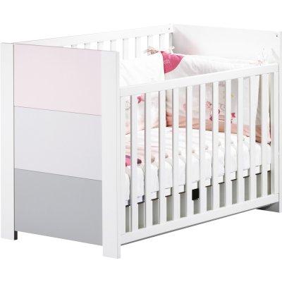 Lit bébé 60x120 non transformable avec galerie coulissante city rose Sauthon meubles