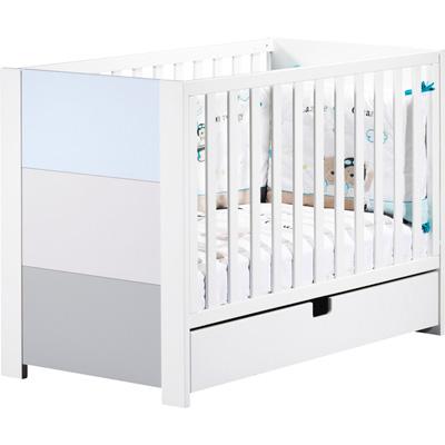 Lit 60x120 non transformable avec galerie coulissante city bleu Sauthon meubles