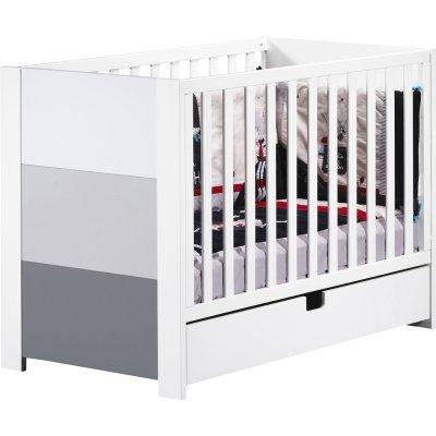 Lit 60x120 non transformable avec galerie coulissante city gris Sauthon meubles
