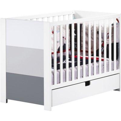 Lit 60x120 non transformable avec galerie fixe city gris Sauthon meubles