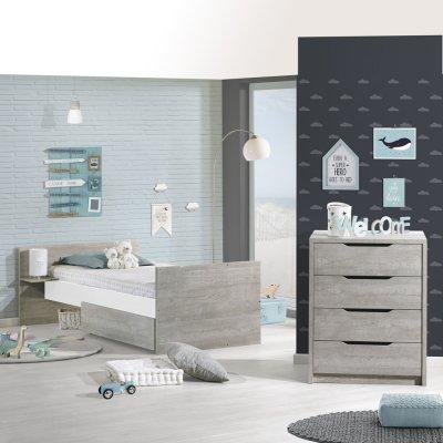 Lit chambre transformable 60x120cm en lit junior 90x190cm loft Sauthon meubles