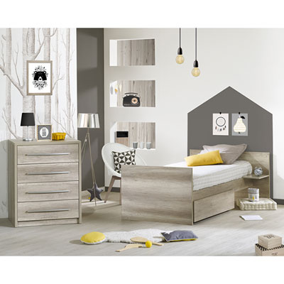 Lit chambre transformable 60x120 en lit junior 90x190 emmy Sauthon meubles