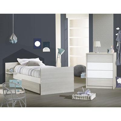 Lit chambre transformable 60x120cm opale frêne sablé sans motif Sauthon meubles