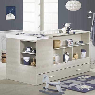 Lit chambre transformable 70x140cm opale frêne sablé avec motif Sauthon meubles