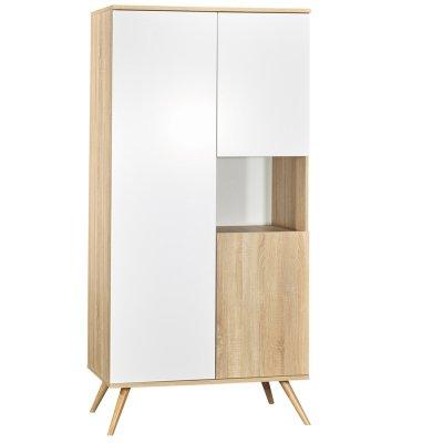 Chambre bébé trio lit 60x120+commode+armoire seventies blanc et bois Sauthon meubles
