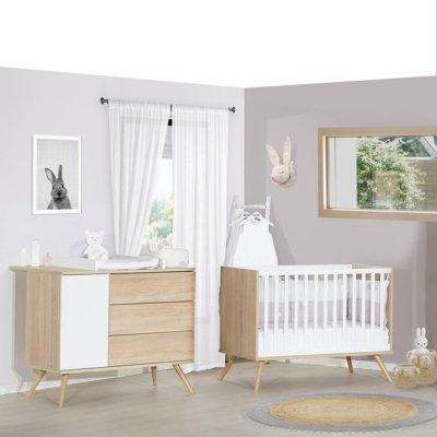 Chambre bébé duo lit 60x120cm + commode seventies blanc et bois Sauthon meubles