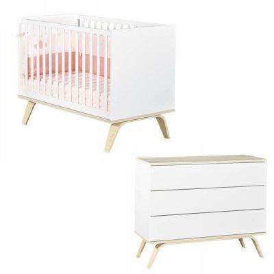 Chambre bébé duo lit 60x120cm + commode serena Sauthon meubles
