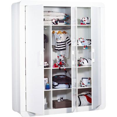 Chambre bébé duo astride blanc lit et armoire 3 portes Sauthon meubles