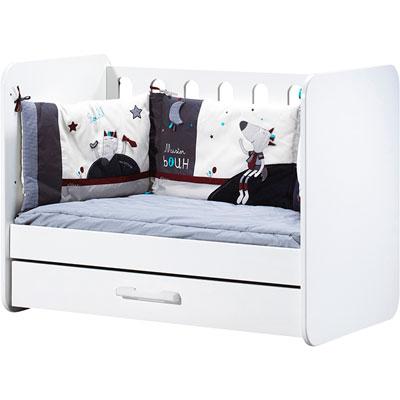 Chambre bébé duo astride blanc lit et armoire 2 portes Sauthon meubles