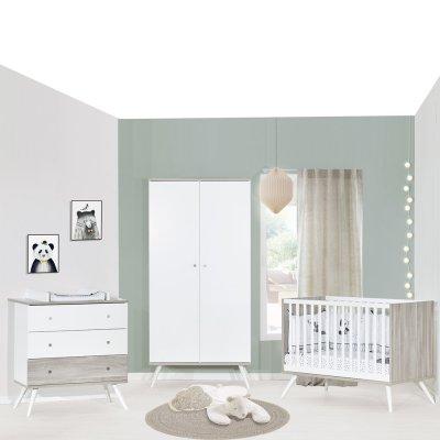 Chambre bébé trio lit 60x120cm + commode+armoire cosy Sauthon meubles