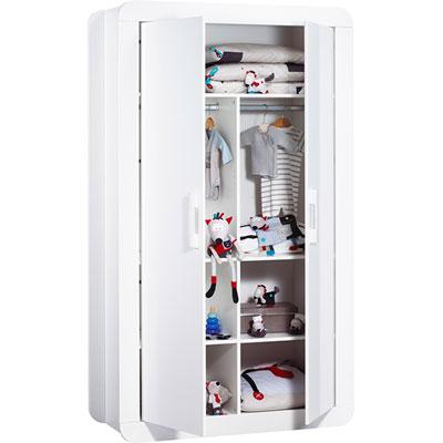 Chambre bébé trio astride blanc avec armoire 2 portes Sauthon meubles