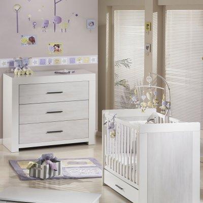 Chambre bébé duo zen rivage lit + commode Sauthon meubles
