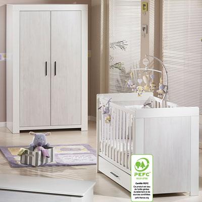 Chambre bébé duo zen rivage lit + armoire Sauthon meubles