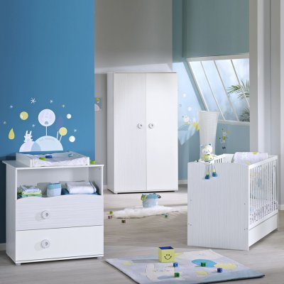 Chambre bébé trio nino lit + commode + armoire Sauthon meubles