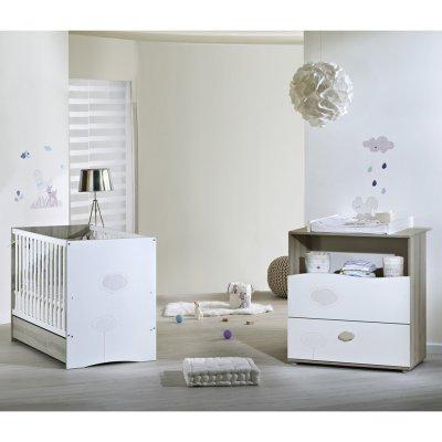 Chambre bébé duo nael lit + commode Sauthon meubles