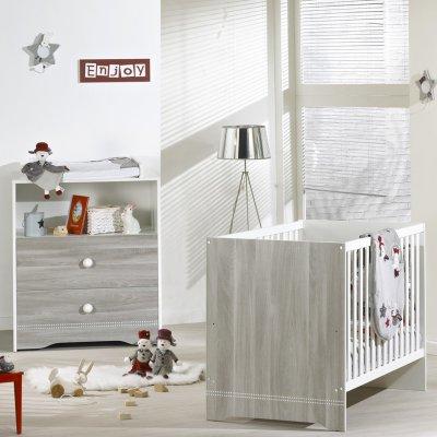 Chambre bébé duo loulou lit + commode Sauthon meubles