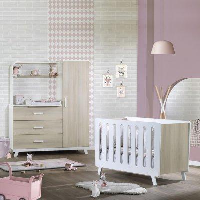 Chambre bébé duo elfy lit + meuble combiné Sauthon meubles