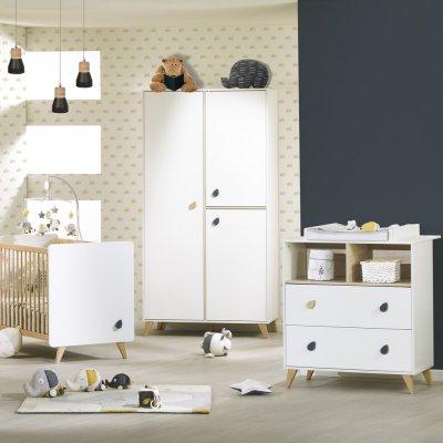 Chambre bébé trio lit + commode + armoire oslo bouton goutte Sauthon meubles
