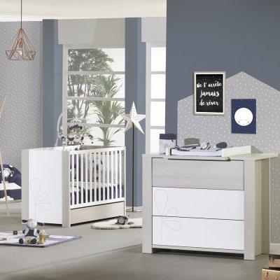 Chambre bébé duo opale frêne sablé avec motif lit + commode Sauthon meubles