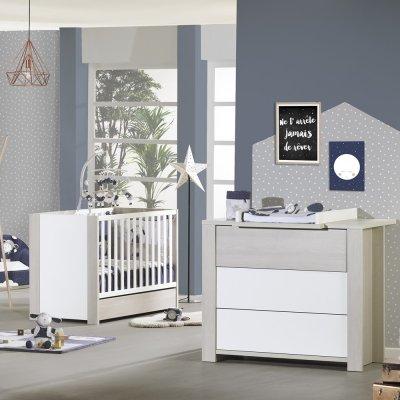 Chambre bébé duo opale frêne sablé sans motif lit + commode Sauthon meubles