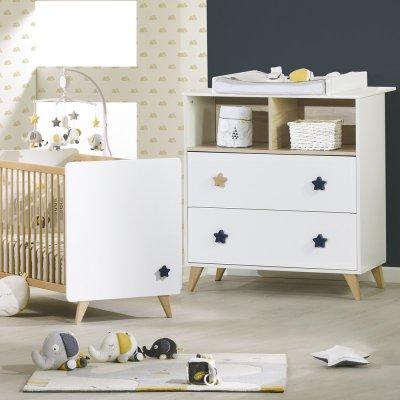 Chambre bébé duo lit + commode oslo bouton étoile Sauthon meubles