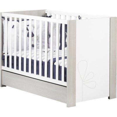 Chambre bébé trio opale frêne sablé avec motif lit + commode + armoire 2 portes Sauthon meubles