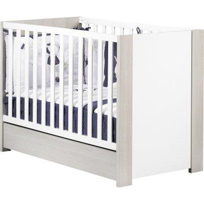 Chambre bébé trio opale frêne sablé sans motif lit + commode + armoire 2 portes Sauthon meubles