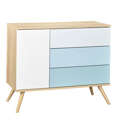 Commode 3 tiroirs bleu seventies Sauthon meubles