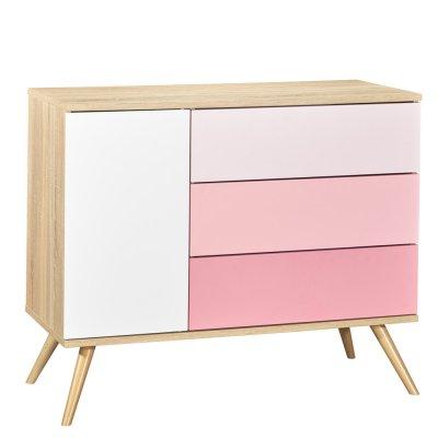Commode 3 tiroirs rose seventies Sauthon meubles