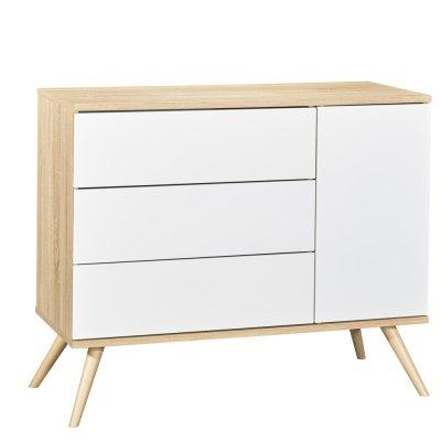 Commode 3 tiroirs blanc seventies Sauthon meubles