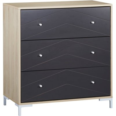 Commode 3 tiroirs dark grey Sauthon meubles