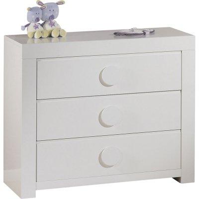 Commode 3 tiroirs zen blanc poignées rondes Sauthon meubles
