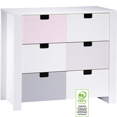 Commode 3 tiroirs city rose Sauthon meubles