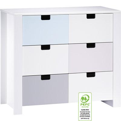 Commode 3 tiroirs city bleu Sauthon meubles