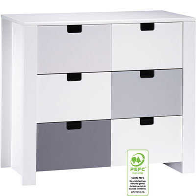 Commode 3 tiroirs city gris Sauthon meubles