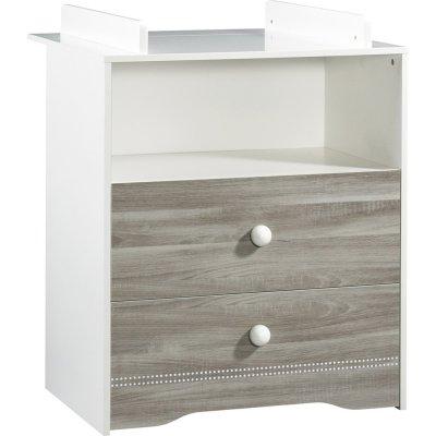 Commode bébé 2 tiroirs avec dispositif à langer inclus loulou Sauthon meubles
