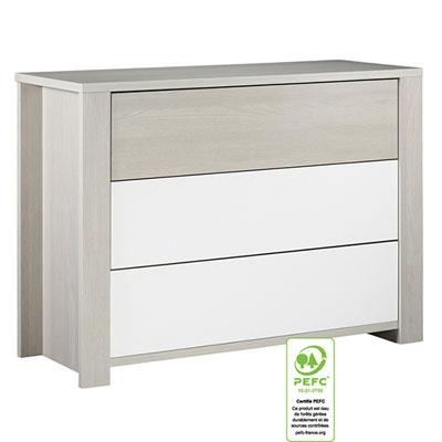 Commode bébé 3 tiroirs grande largeur opale frêne sablé sans motif Sauthon meubles